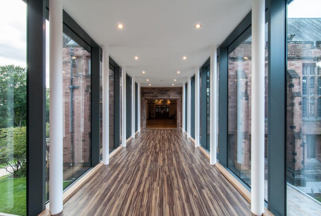 Connecting glazed walkway Riley Sixth Form Bolton School