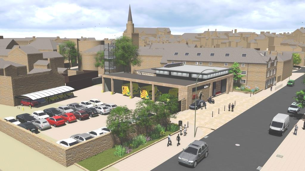 CGI artists impression of the proposed Lancaster Fire and Ambulance station from an aerial view