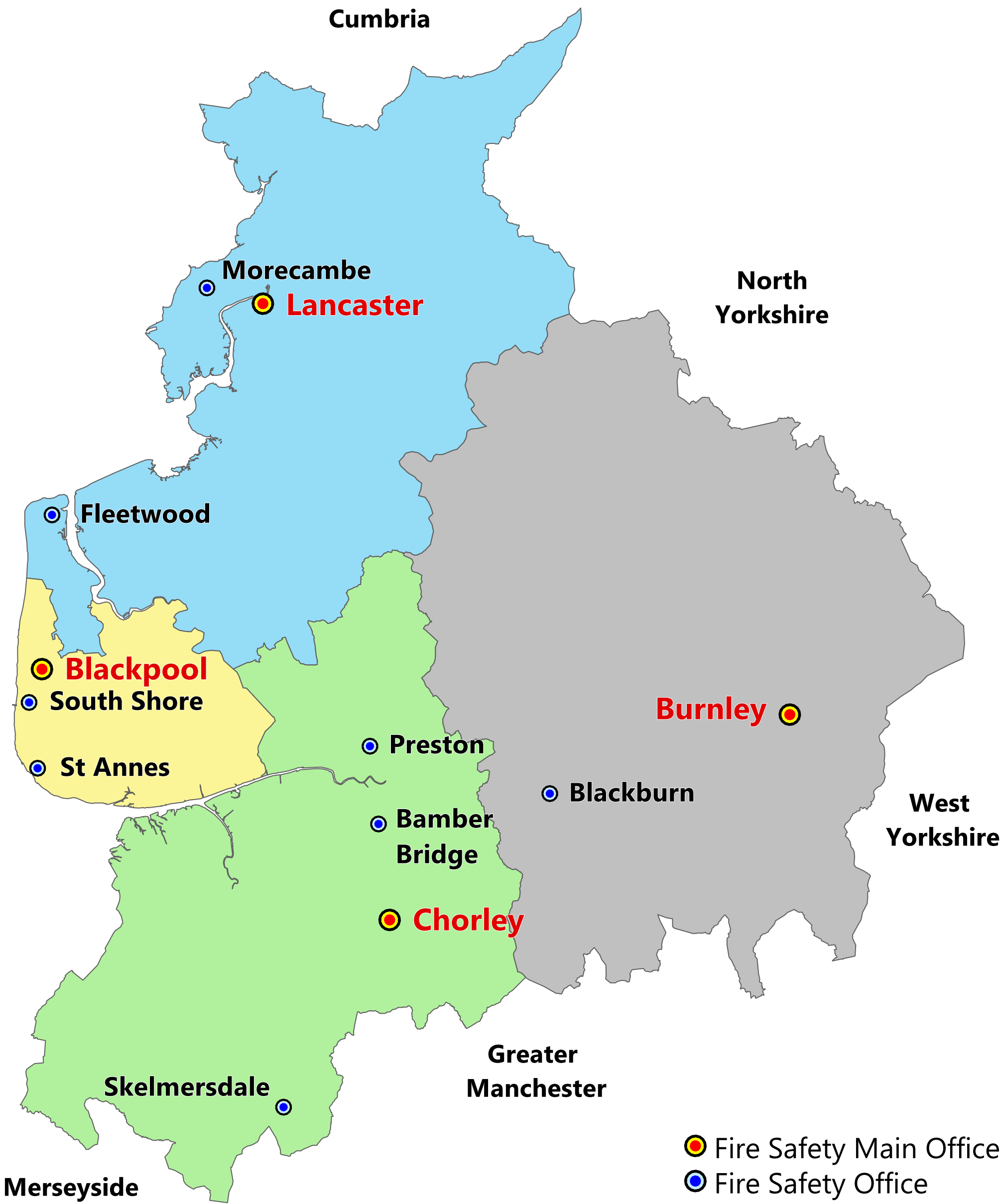 Map showing the fire safety offices in Lancashire