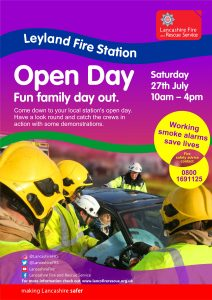 poster advertising leyland station open day