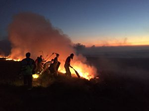 Firefighters breathing flames at Winter Hill