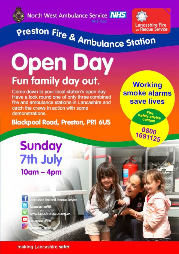 Preston Fire and Ambulance Station Open Day Poster