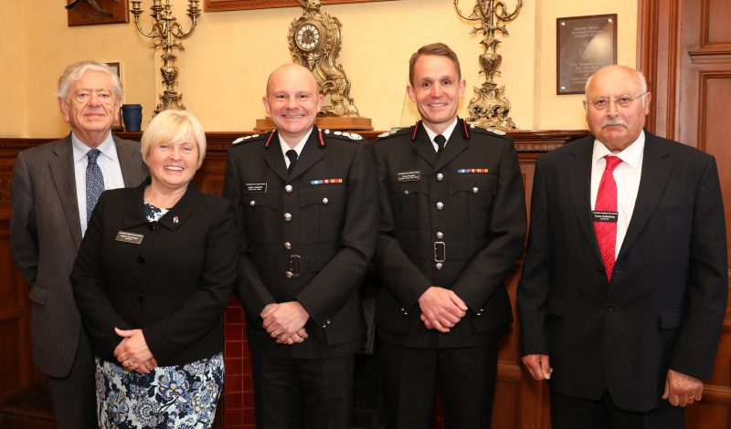 Deputy Chief Fire Officer Dave Russel (second from right) with CFO Justin Johnston, Chairman of the Fire Authority County Councillor Frank de Molfetta and County Councillors O'Toole and Hennessy