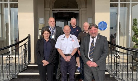 Justin Johnston with Professor Anna Stec and Brian Hooper, Les Skarratts, Sean Carlisle and Andy Hewtison from the FBU