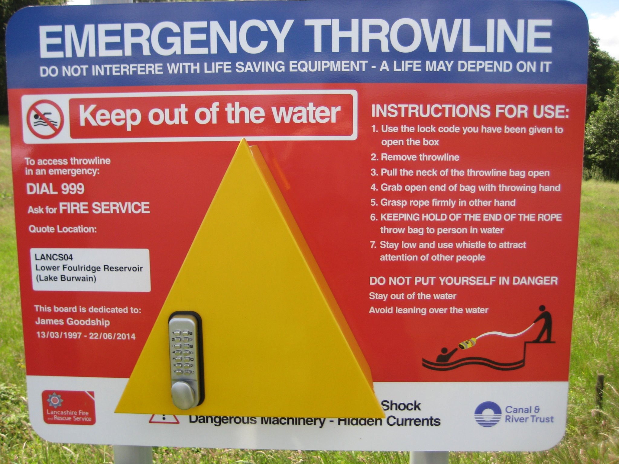 water safety board at Foulridge