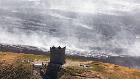 smpke from winter hill fire at rivington