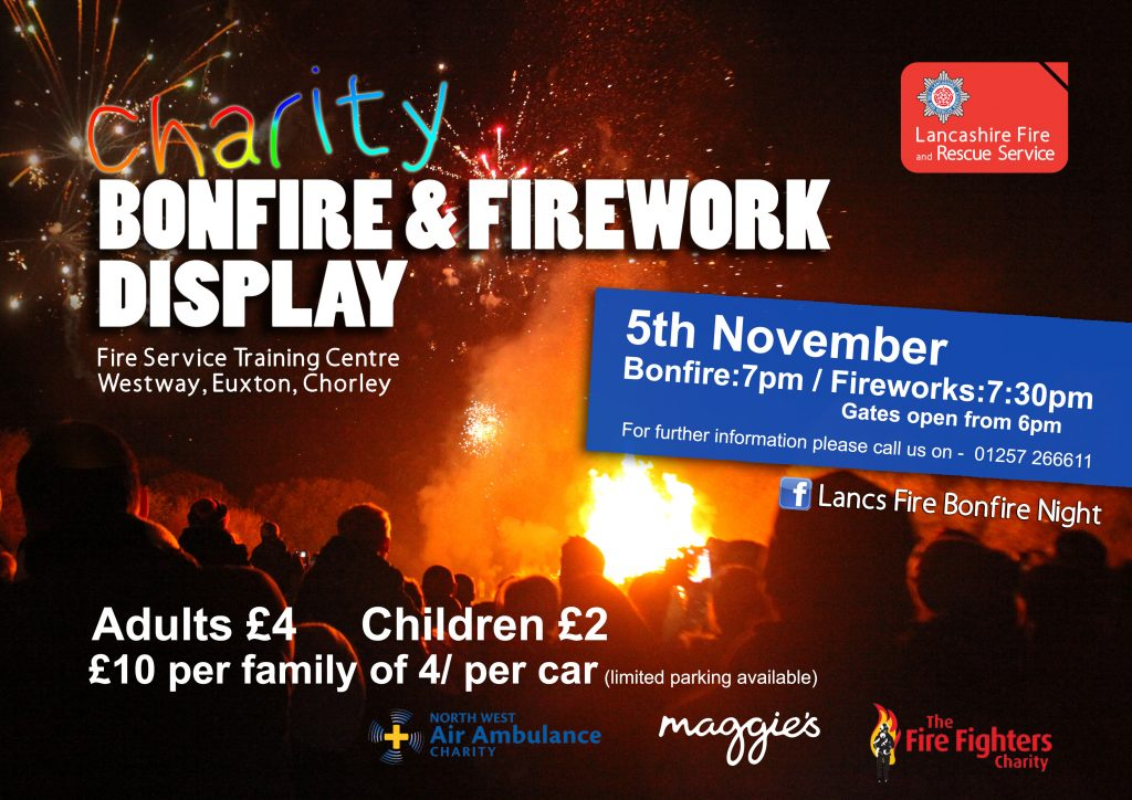 Charity bonfire event poster