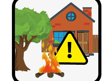 bonfires near to trees and buildings icon