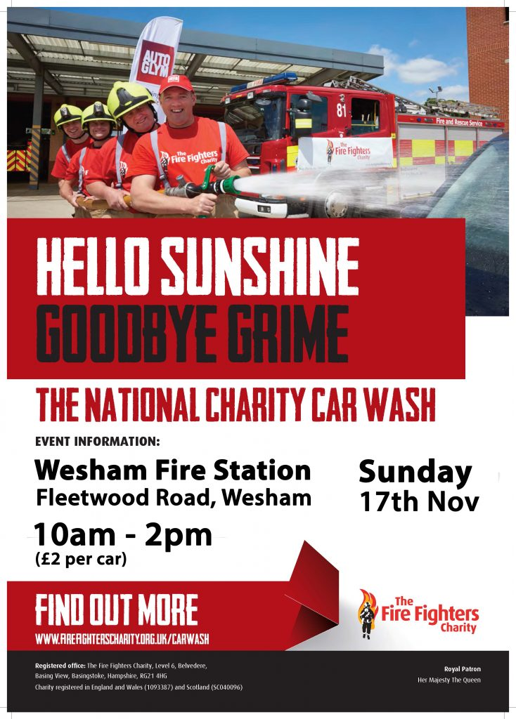 Wesham Fire Station Charity Car Wash Poster