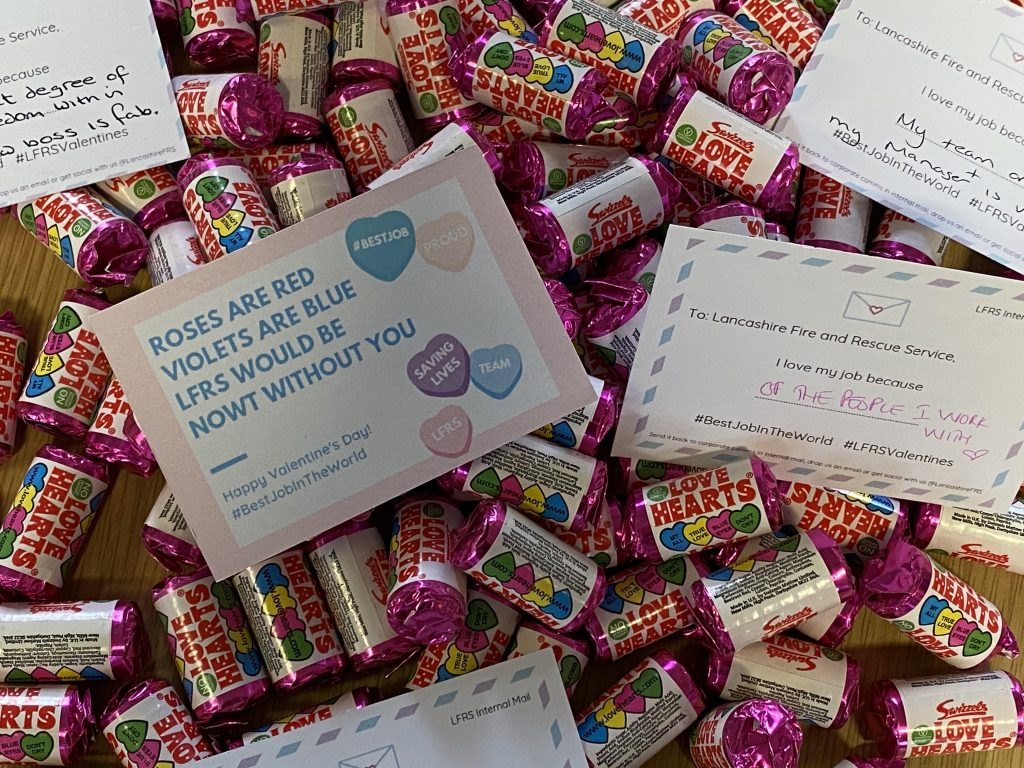 messages from staff and love heart sweets