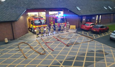 Darwen Fire Station spell out NHS using hose reels
