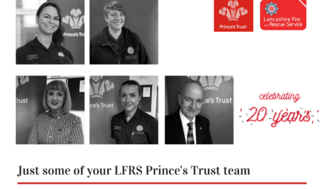 Pictures of five members of prince's trust staff who work for LFRS to celebrate 20 years of team programmes
