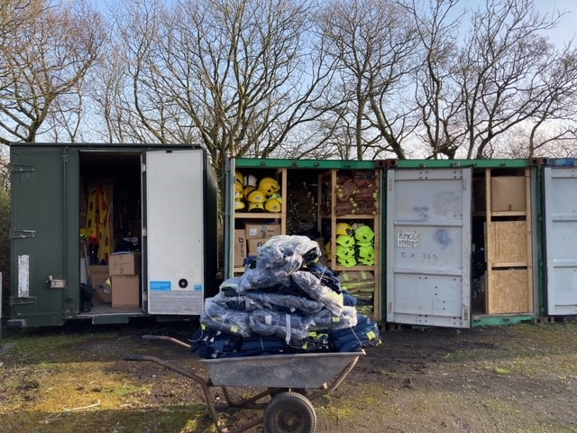 Containers loaded with charitable PPE donations for Philippines