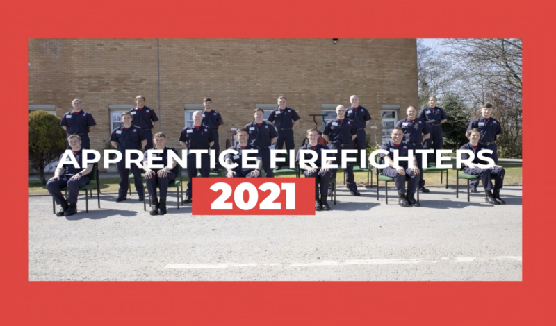 Group photo of Wholetime Apprentice Firefighters April 2021