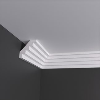 Small Stepped Plaster Cornice Coving - 3m