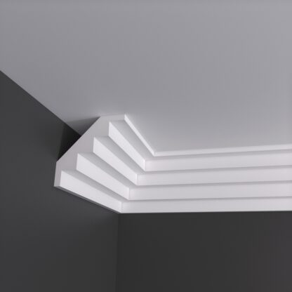 Large Stepped Plaster Cornice Coving - 3m