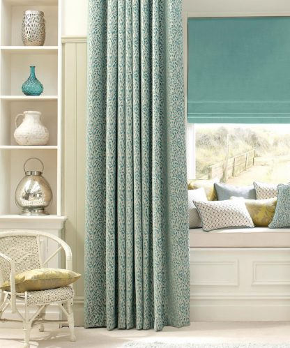 Ashbourne - Teal, Pencil Pleat Curtains