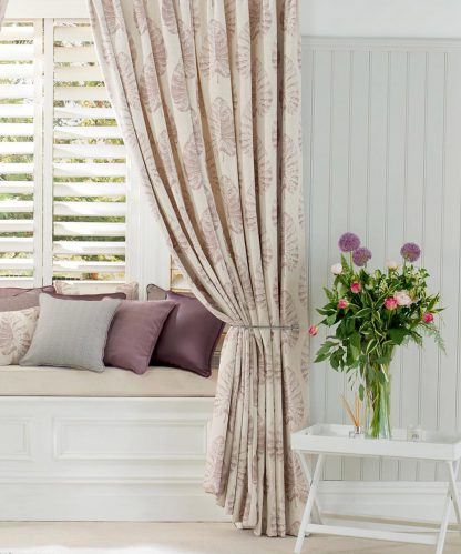 Appledore - Wild Rose, Pinch Pleat Curtains
