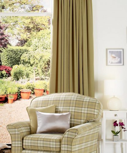 Arran - Olive, Pinch Pleat Curtains