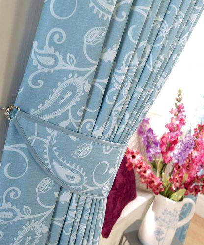Ashbury - Sky, Pinch Pleat Curtains
