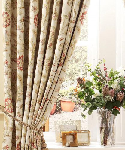 Bellagio Floral - Terracotta, Pinch Pleat Curtains