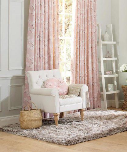 Blossom - Blush, Pinch Pleat Curtains