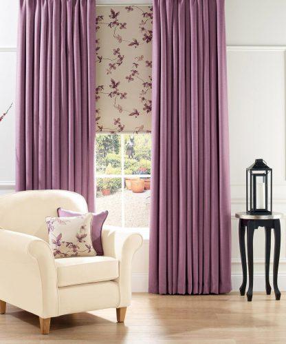 Gemma - Lavender, Roller Blind with Gemma - Linen, Pencil Pleat Curtains