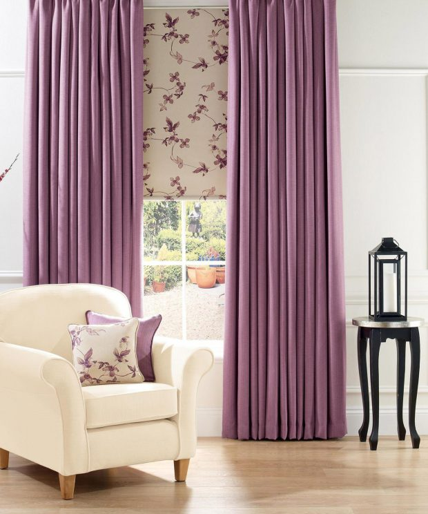 Gemma - Lavender, Roller Blind with Gemma - Linen, Pencil Pleat Curtains