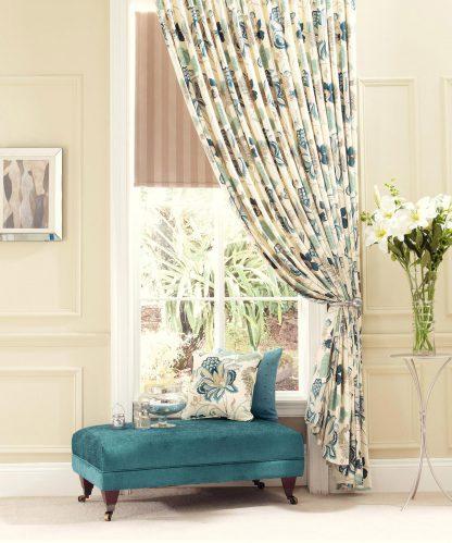 Jacobean Opulence - Blue/Cream - Pencil Pleat Curtains