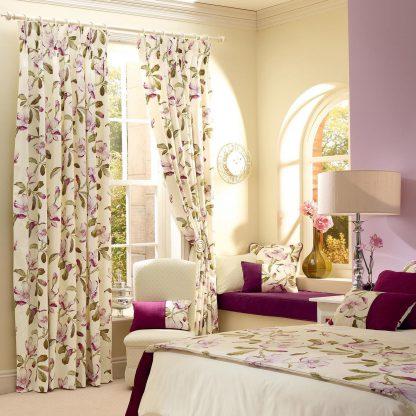 Magnolia Gardens - Fuscia, Eyelet Curtains