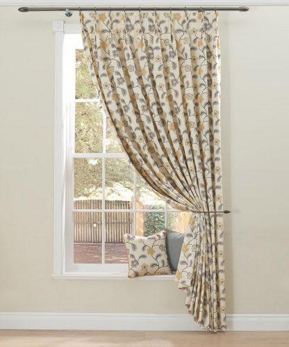 Masilda - Stone, Pinch Pleat Curtains