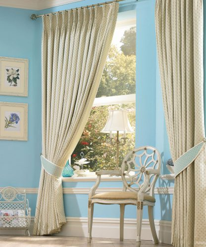 Omega - Cornflower, Pinch Pleat Curtains