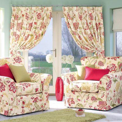 Paradise - Summer Chintz, Pinch Pleat Curtains