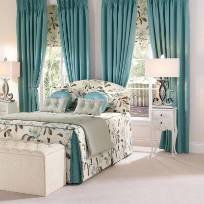 Scala - Teal, Pinch Pleat Curtains