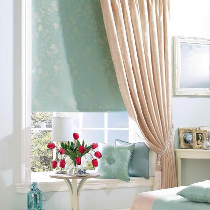 Sushi - Aqua, Roller Blind and Sushi - Natural, Pinch Pleat Curtain
