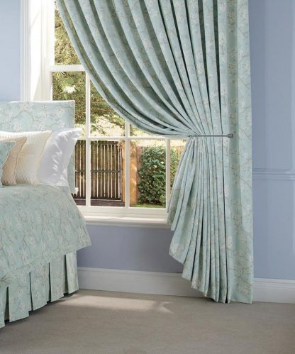 Clovelly - Sky, Pencil Pleat Curtains