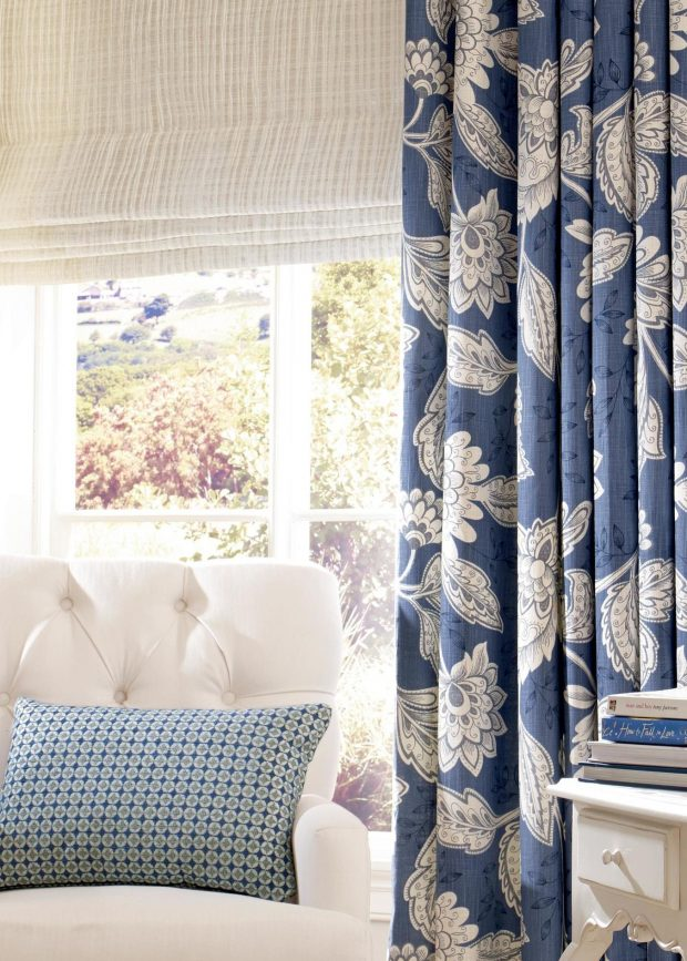 Charlton - Navy Blue made to measure curtains