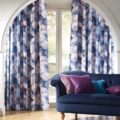 Secrecy - Bluebell, Pencil Pleat Curtains