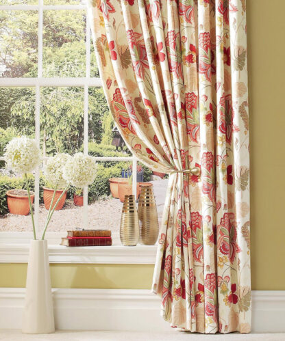 Jacobean Opulence - Red/Green - Pencil Pleat Curtains