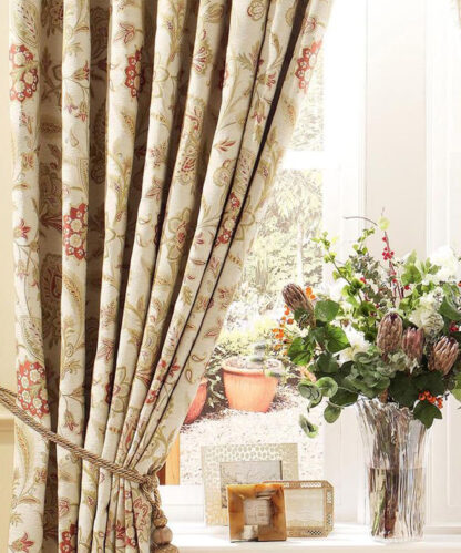 Bellagio Floral - Terracotta, Pencil Pleat Curtains