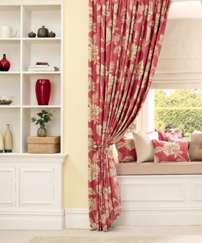 Charlton - Red, Pencil Pleat Curtains