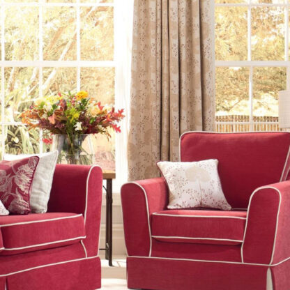 Moonseed - Cranberry, Pinch Pleat Curtains