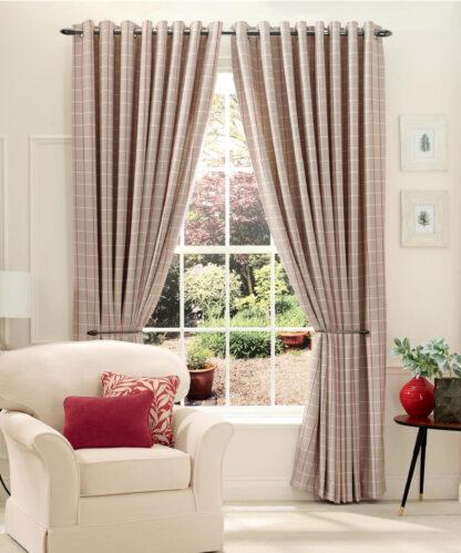 Brompton Check - Caramel, Eyelet Curtains