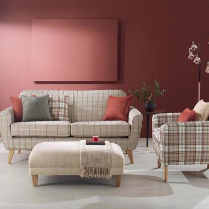 Brompton Check - Caramel Sofa, Brompton - Caramel Chair, Classic make-up