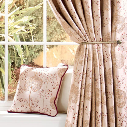 Moonseed - Cranberry, Pencil Pleat Curtains