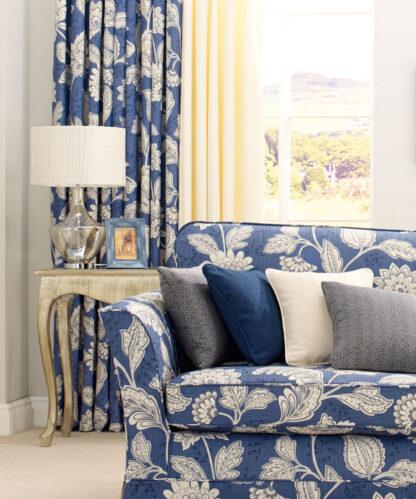 Charlton, Navy Blue - Pencil Pleat Curtains