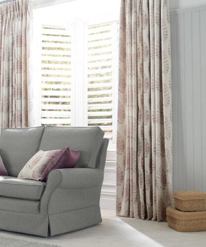 Appledore - Wild Rose, Pinch Pleat Curtains