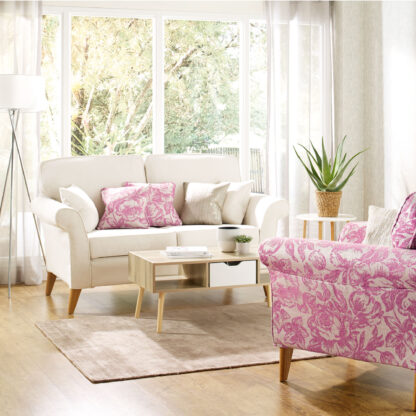 Abbey, Chalk Sofa cover and Abbey Rose, Raspberry Chair cover