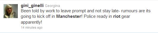 Gina Ginelli tweet Manchester riots