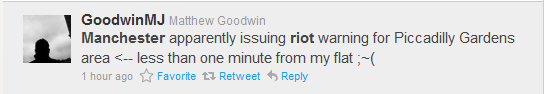 GoodwinMJ tweet Manchester riots Piccadilly Gardens